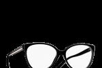 Lunettes chanel femme eyewear balducelli opticiens montbeliard 3284 noir beige bandes bicolores papillon ronde noire fine