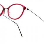 lunettes minima légère discrete percée hybride rouge femme